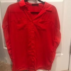 Beautiful Red Short Sleeve Blouse - S